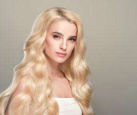 Stock Photo Beautiful girl with wavy white hair 05