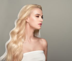 Stock Photo Beautiful girl with wavy white hair 06
