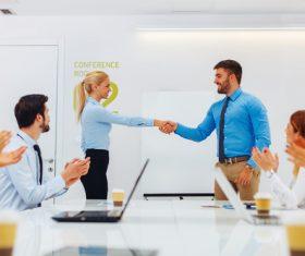 Stock Photo Customer cooperation handshake
