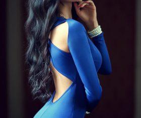 Stock Photo Graceful posture tight blue skirt beauty