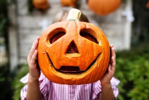 Stock Photo Handmade Halloween Pumpkin Lights