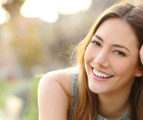 Stock Photo Happy smiling shawl hair girl