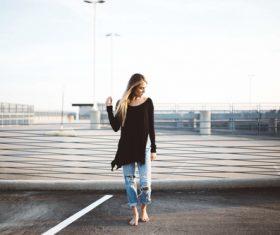 Stock Photo Outdoor barefoot posing girl