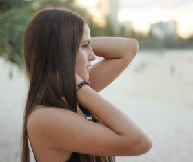Stock Photo Side shooting girl