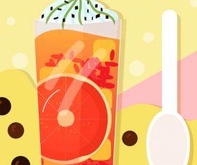 Summer cold drink vector illustration