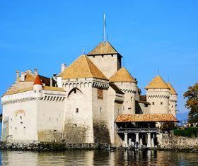 Swiss chillon castle natural scenery Stock Photo 01
