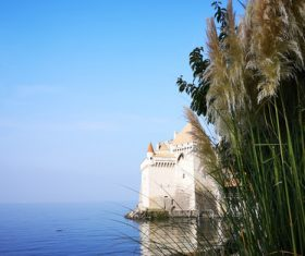Swiss chillon castle natural scenery Stock Photo 02