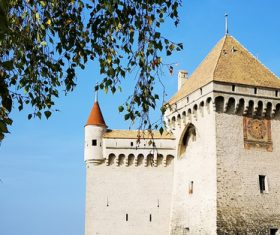 Swiss chillon castle natural scenery Stock Photo 03