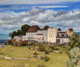 Swiss chillon castle natural scenery Stock Photo 05