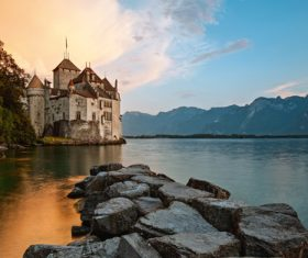 Swiss chillon castle natural scenery Stock Photo 07