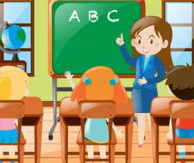 Teacher and classmates in class vector