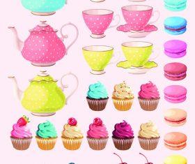 Teapot dessert dessert vector illustration background