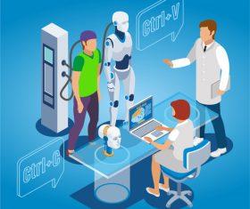 Tech cloning robot vector illustration