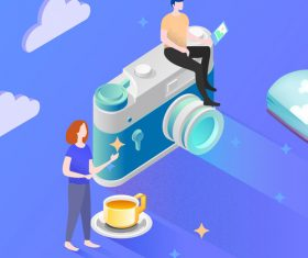Tech photography character scene vector illustration