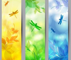Three types dragonfly banner vector material