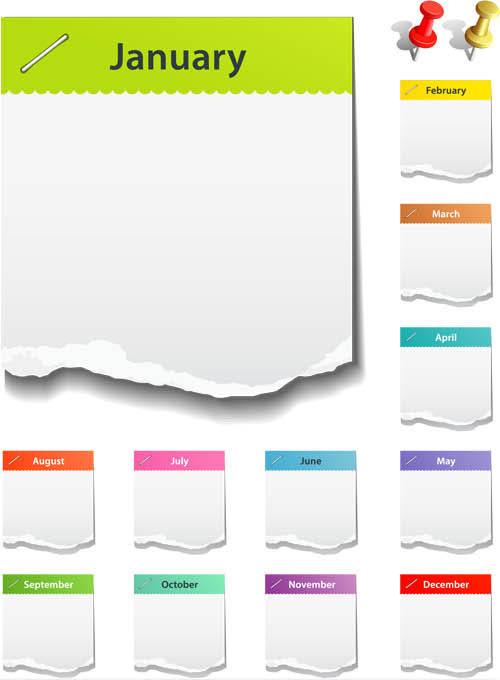 Torn paper Calendars vectors