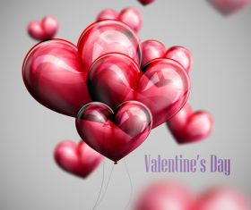 Transparent red balloon with valentine background vectors 01
