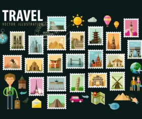 Travel with stamp vector illustration 02