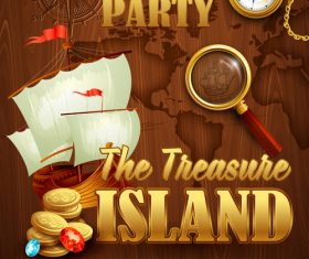 Treasure island kids party poster vector 01