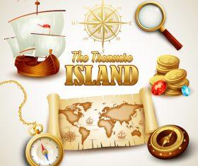 Treasure island map design vector 01