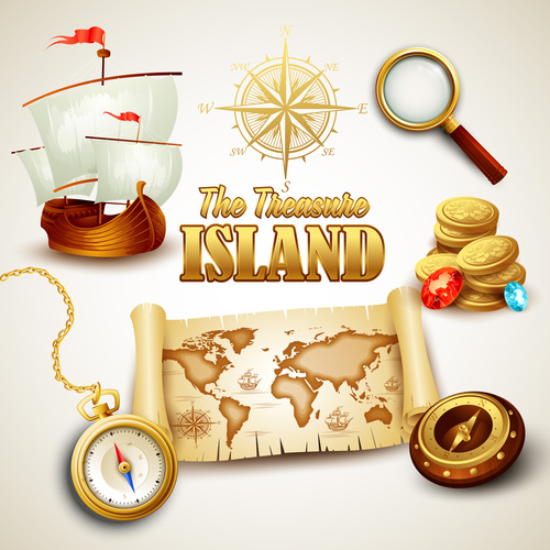 Treasure island map design vector 01
