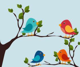 Tree branch with birds cartoon vector 01