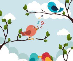 Tree branch with birds cartoon vector 02