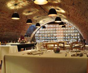 Underground empty restaurant Stock Photo