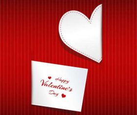 Valentine card template with white heart vector