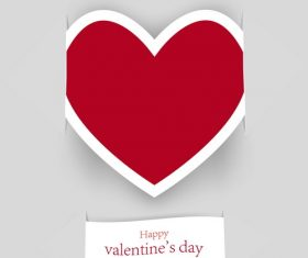 Valentine paper card with red heart vector
