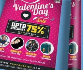 Valentines Day Discount Sale Poster Psd Template