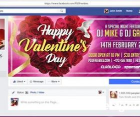 Valentines Day Facebook Cover PSD Template