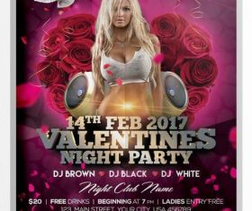 Valentines Day Night Party Flyer PSD Template