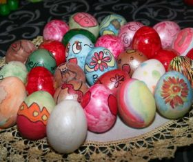 Various painted beautiful Easter eggs Stock Photo 03
