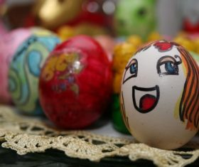 Various painted beautiful Easter eggs Stock Photo 04