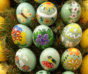 Various painted beautiful Easter eggs Stock Photo 05
