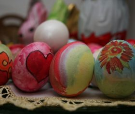 Various painted beautiful Easter eggs Stock Photo 06
