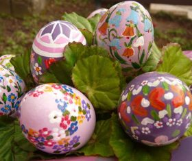 Various painted beautiful Easter eggs Stock Photo 07