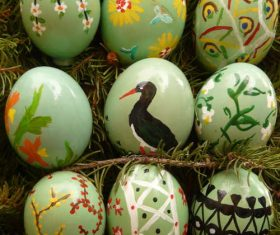 Various painted beautiful Easter eggs Stock Photo 08