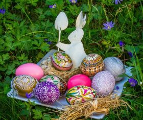 Various painted beautiful Easter eggs Stock Photo 09