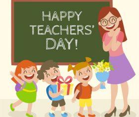Vector cartoon teacher and pupils