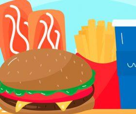 Vector food series of burger cola