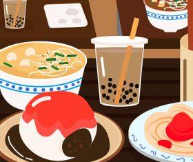Vector gourmet street food