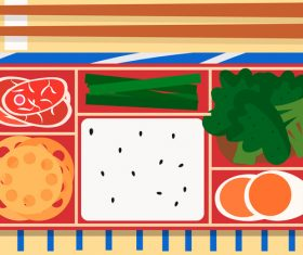 Vector illustration gourmet series of delicious lunch