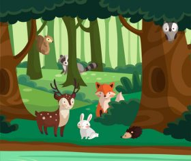 Vector illustration of animals in the autumn forest