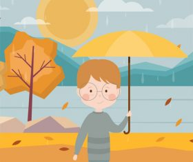 Vector illustration of boy with umbrella on the river in autumn