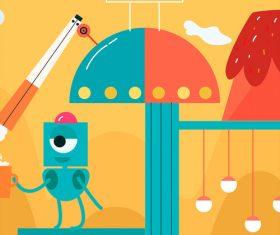 Vector illustration of cartoon robots alien life
