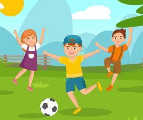 Vector illustration of children playing football