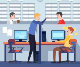Vector illustration of communication between colleagues