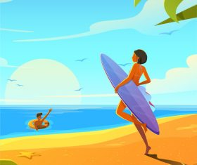 Vector illustration of couple on vacation by the sea
